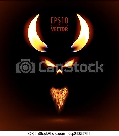 火, 悪魔, シルエット - csp28329795