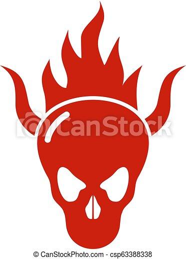 火, 悪魔, 頭骨, アイコン - csp63388338