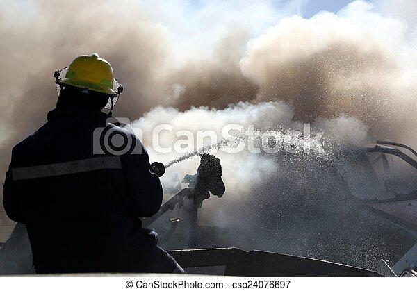 火, 消防士, パッティング, から - csp24076697