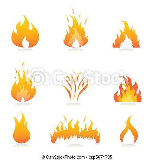 火, 炎, サイン - csp5674735