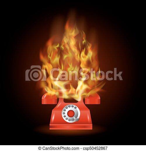 火, 電話, 炎, 赤, 燃焼 - csp50452867