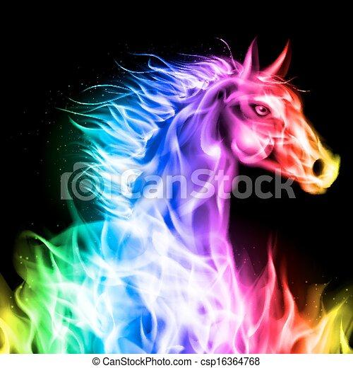 火, horse., カラフルである - csp16364768