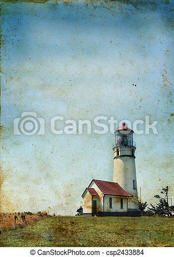 灯台, グランジ, 背景 - csp2433884
