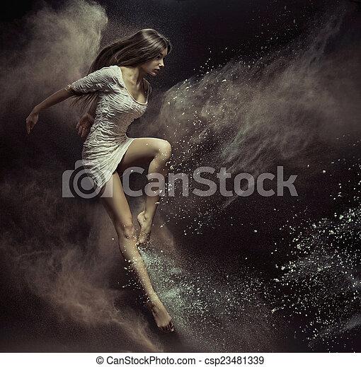灰塵, 女孩, 充分, 地方, 跳躍 - csp23481339