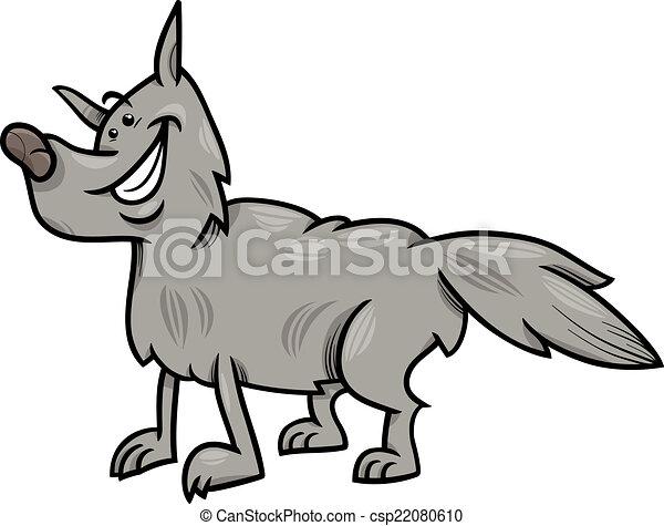 灰色の オオカミ 漫画 イラスト 動物 灰色 面白い イラスト 狼