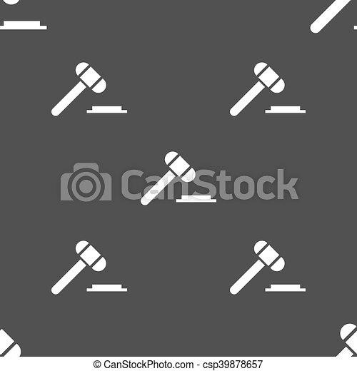 灰色, オークション, パターン, 印。, seamless, バックグラウンド。, ベクトル, 裁判官, ハンマー, ∥あるいは∥, アイコン - csp39878657