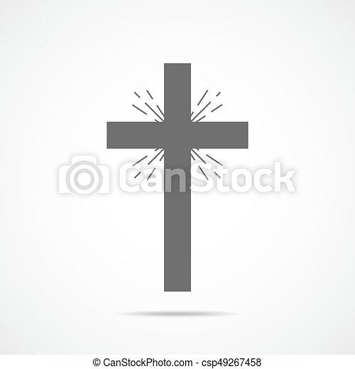 灰色, キリスト教徒, illustration., 交差点, ベクトル, icon. - csp49267458