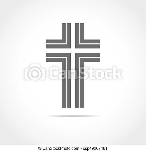 灰色, キリスト教徒, illustration., 交差点, ベクトル, icon. - csp49267461