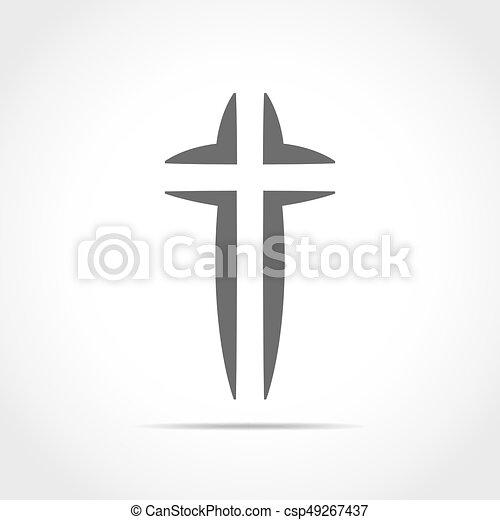 灰色, キリスト教徒, illustration., 交差点, ベクトル, icon. - csp49267437