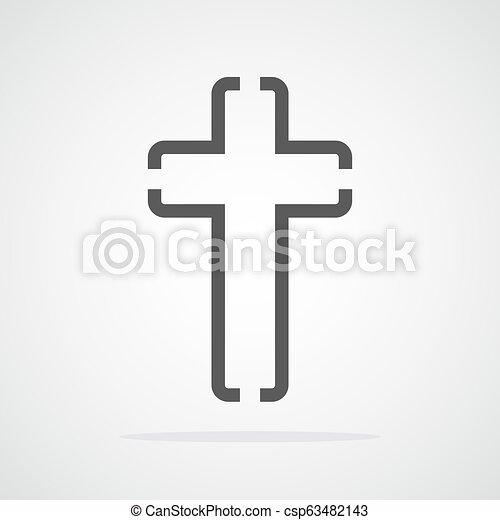 灰色, キリスト教徒, illustration., 交差点, ベクトル, icon. - csp63482143