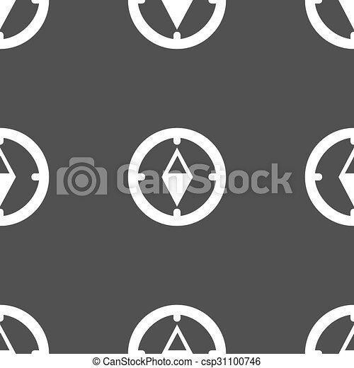 灰色, パターン, windrose, シンボル。, 印, バックグラウンド。, ベクトル, seamless, コンパス, icon., ナビゲーション - csp31100746