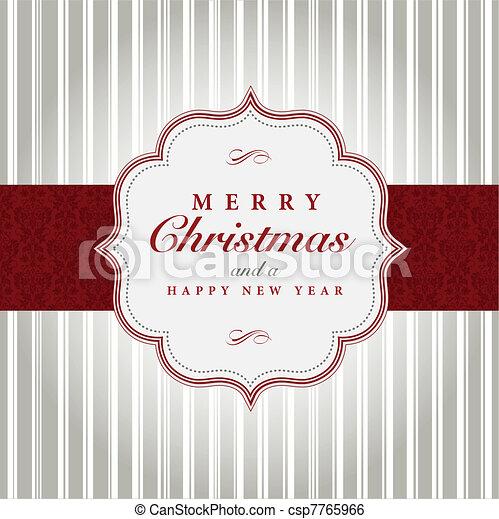 灰色, ベクトル, クリスマス, 赤, ラベル - csp7765966