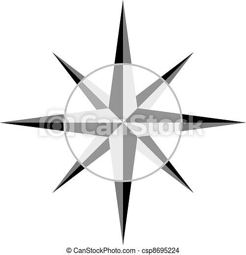 灰色, ベクトル, windrose - csp8695224