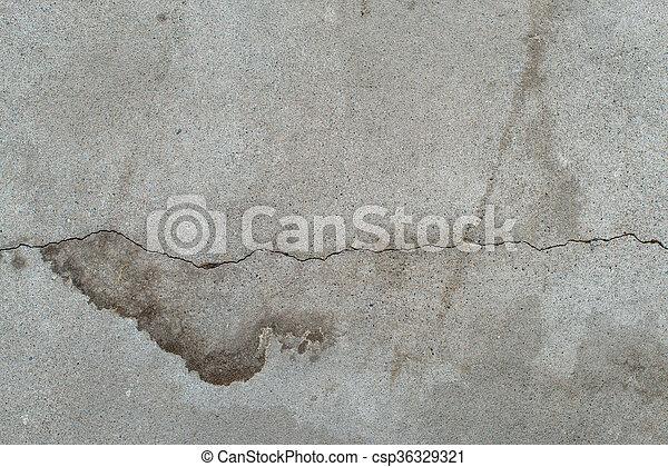 灰色, 傷つけられる, 古い, 捨てられた, agedgreytexturewithsplodge., セメント, wall., コンクリート, 汚い, 割れた, surface. - csp36329321