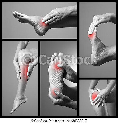 灰色, feet., いくつか, コラージュ, バックグラウンド。, 人間, 痛み, 体, 写真, 女, マッサージ, legs., 女性, 部分, foot., 傷 - csp36339217