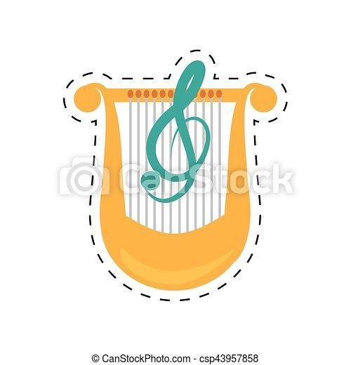 点を打たれた, クラシック, リラ, 音楽, 線, ハープ - csp43957858