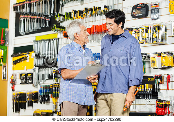 点検, 父, リスト, 息子, 工具店 - csp24782298
