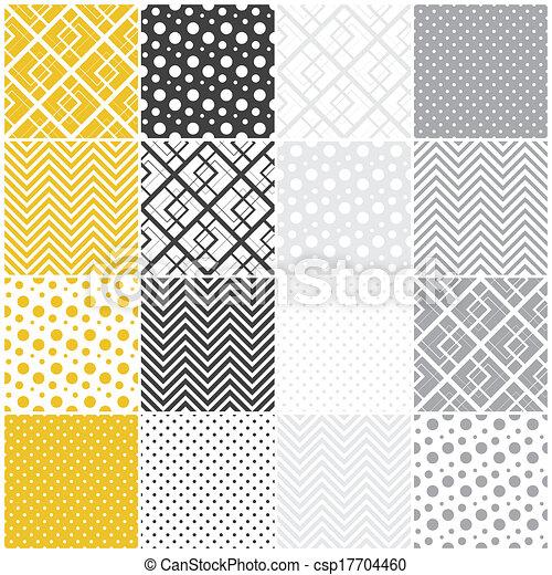 点, ポルカ, seamless, 正方形, 山形そで章, patterns:, 幾何学的 - csp17704460