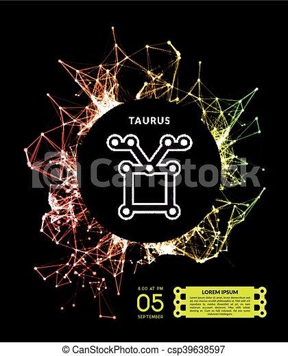点, 形態, ライン, 接続される, サイン, 黄道帯 - csp39638597