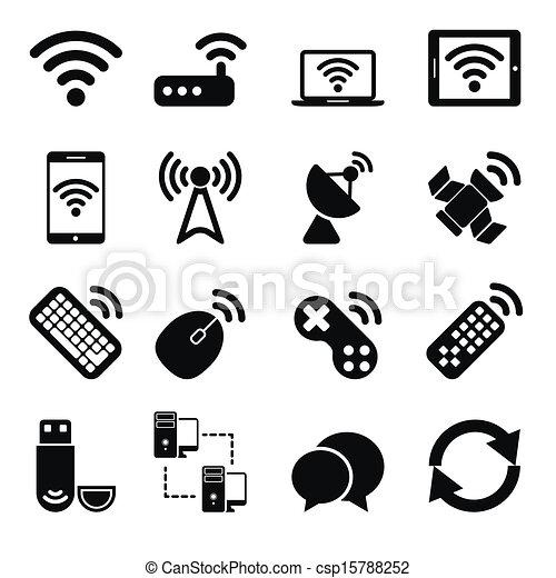無線, セット, 装置, アイコン - csp15788252