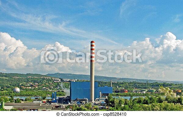 無駄, incinerator, 煙突, 市の - csp8528410