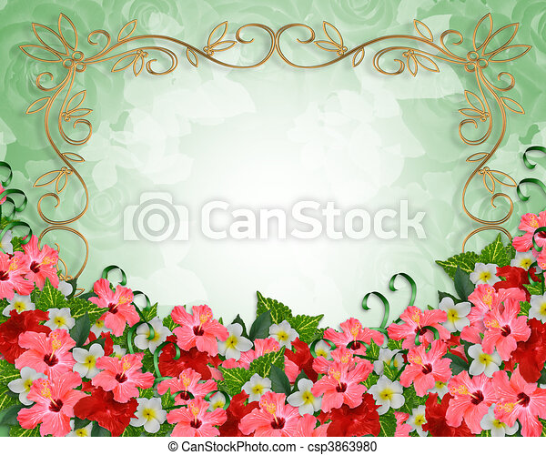 熱帯の結婚式, 花, 招待 - csp3863980