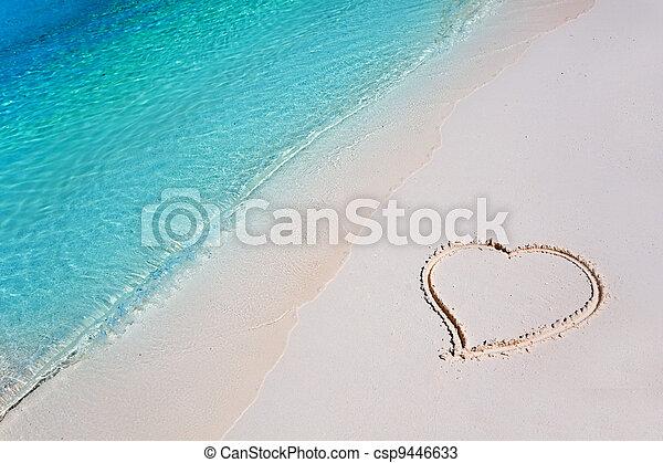 熱帶, 心, 沙子海灘, 天堂 - csp9446633