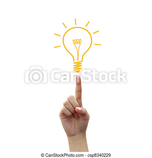 燈泡, 指尖, 圖畫, 光 - csp8340229