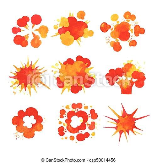 爆発 セット 効果 水彩画 火 ベクトル イラスト 爆発 爆発