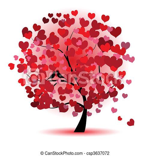 爱, 叶子, 树, 心, valentine - csp3637072