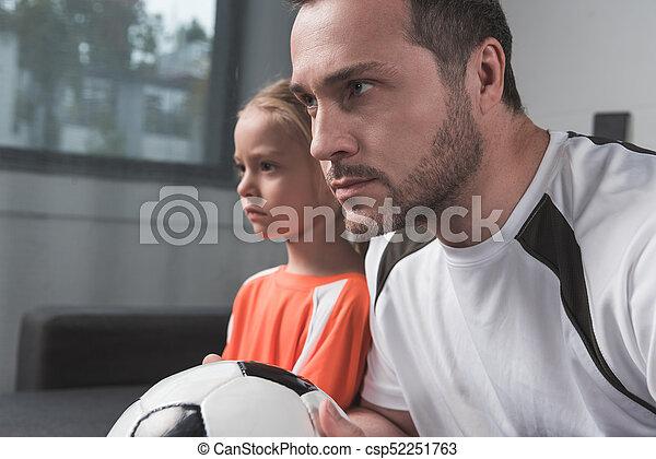 父, ゲーム, フットボール, 娘, 監視 - csp52251763