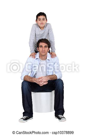 父, ポーズを取る, 息子 - csp10378899