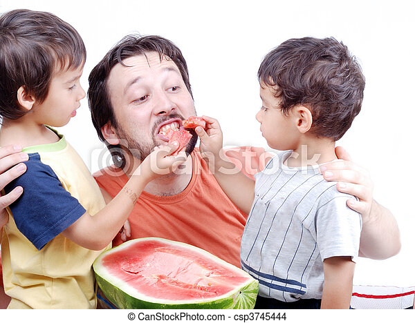 父, 幸せ, 子供, 2 - csp3745444