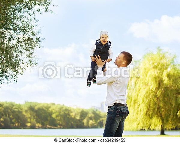 父, 幸せ, 息子 - csp34249453