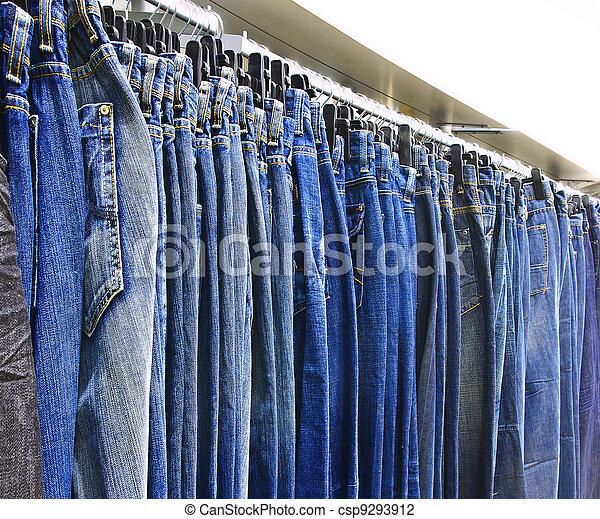 牛仔褲, row. - csp9293912