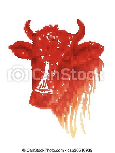 牛, 顔, 背景, 引かれる, 白, 手 - csp38540939