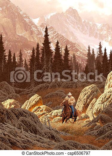 牧場労働者, 山, 岩が多い - csp6506797