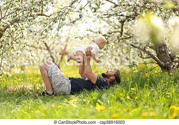 牧草地, playfully, 父, 女の赤ん坊, 持ち上がること, 幸せ - csp36916003