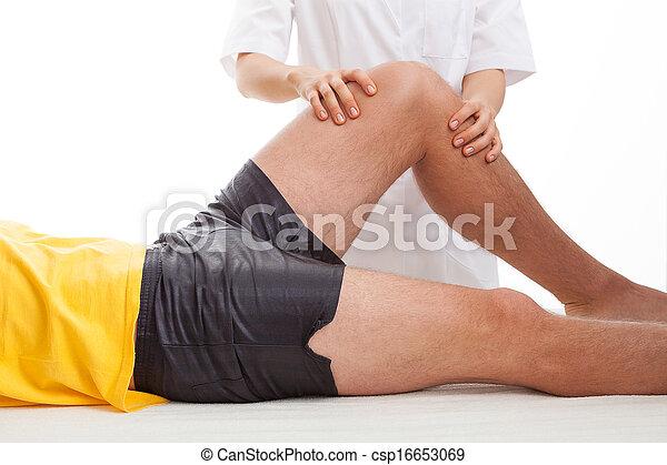 物理療法家, マッサージ, 足. 傷...
