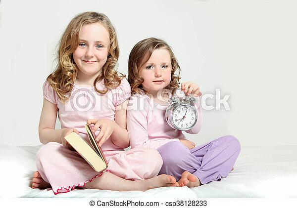 物語, 子供, ルーチン, 就寝時刻, book. - csp38128233