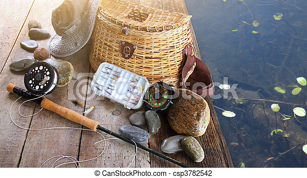 特寫鏡頭, 帽子, 設備, 釣魚 - csp3782542
