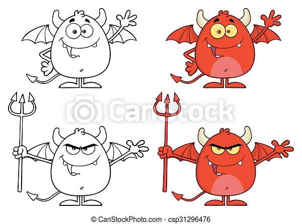 特徴, 怒る, 悪魔, コレクション - csp31296476
