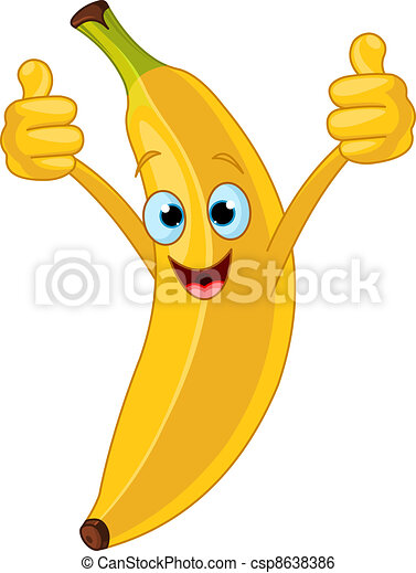 特徴, 漫画, 朗らかである, バナナ - csp8638386