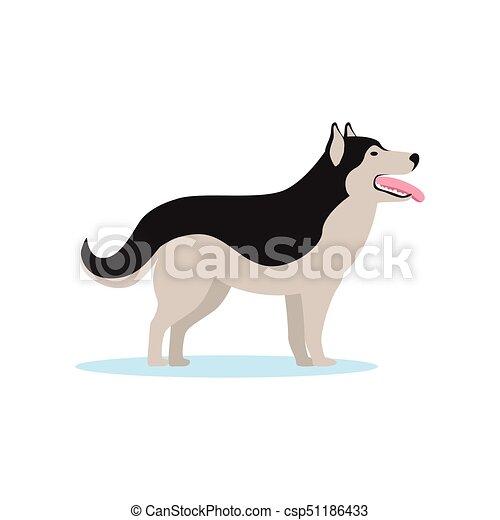 犬 Siberian イラスト ベクトル ハスキー サイド光景 犬 Siberian