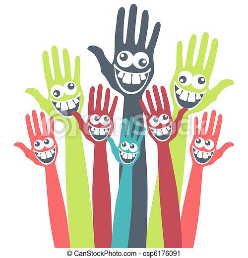 狂気, hands., 顔 - csp6176091