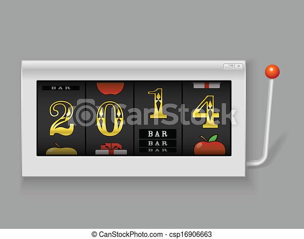 狭缝, 数字, 机器, year., 2014, 新, 开心 - csp16906663