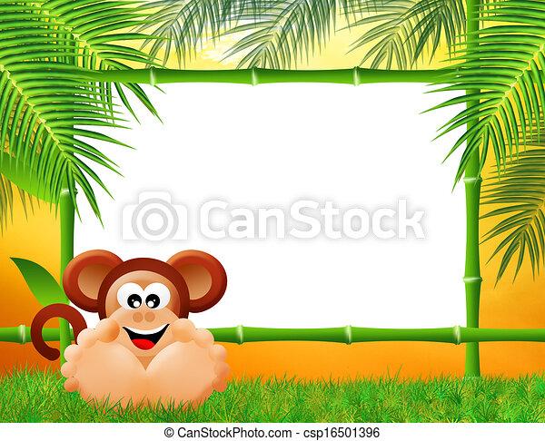 竹子, 猴子, 框架, 卡通漫画素材