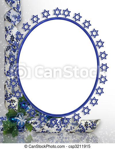 猶太, 照片框架, 邊框, 星 - csp3211915