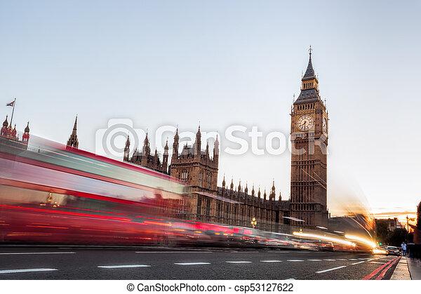 王國, 團結, ben, 晚上, 大, 果醬, 交通, 倫敦 - csp53127622