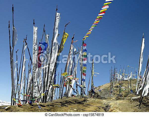 王國, 旗, -, 不丹, 禱告 - csp15874819